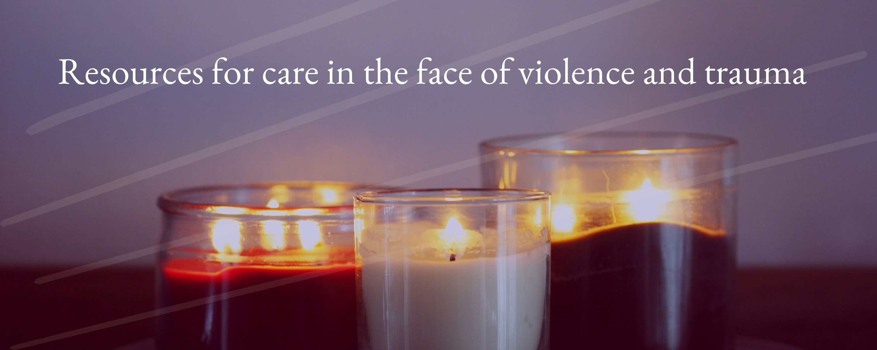 Resources for Trauma. Image of candles with violet background.